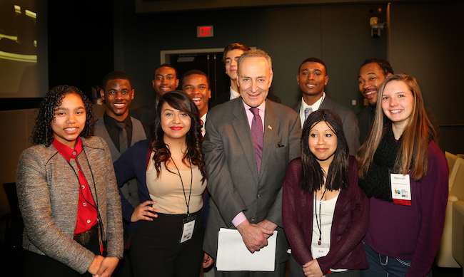Senator Charles Schumer with student panel at U.S. Safe